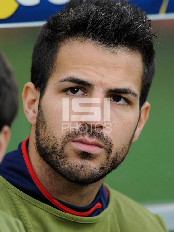 Cesc Fabregas of Spain starts on the bench