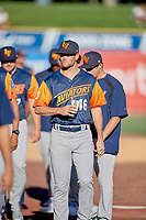 Kyle Finnegan (46) of the Las Vegas Aviators before the game against the Salt Lake Bees at Smith's Ballpark on July 20, 2019 in Salt Lake City, Utah. The Aviators defeated the Bees 8-5. (Stephen Smith/Four Seam Images)