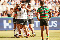 The Warriors celebrate a try, Rabbitohs v Vodafone Warriors, NRL rugby league premiership. Optus Stadium, Perth, Western Australia. 10 March 2018. Copyright Image: Daniel Carson / www.photosport.nz