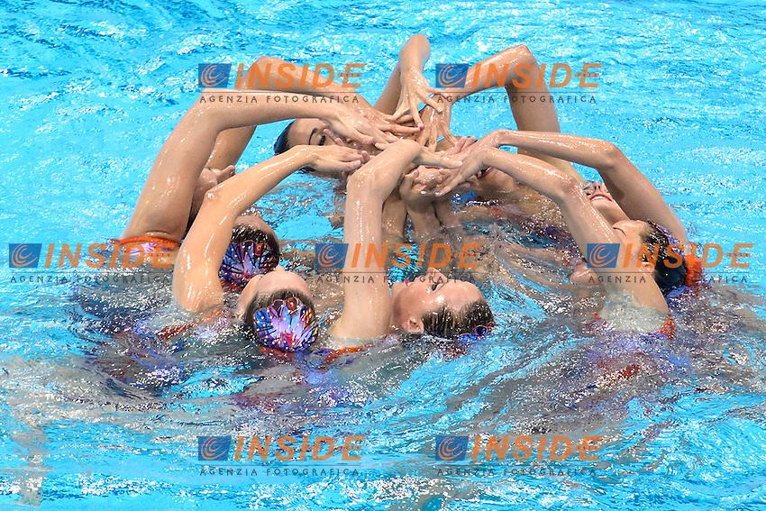 SPAIN ESP <br /> SALVADOR Cristina JAUMA Helena MAS Meritxell CAMACHO Clara JIMENEZ Cecilia RAMIREZ Paula JUAREZ Carmen <br /> CABELLO Alba<br /> Team Free Preliminary  <br /> London, Queen Elizabeth II Olympic Park Pool <br /> LEN 2016 European Aquatics Elite Championships <br /> Synchronized Swimming <br /> Day 03 10-05-2016<br /> Photo Andrea Staccioli/Deepbluemedia/Insidefoto