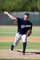 Milwaukee Brewers minor league pitcher Eric Semmelhack #73 during an instructional league game against the Cincinnati Reds at Maryvale Baseball Park on October 3, 2012 in Phoenix, Arizona.  (Mike Janes/Four Seam Images)
