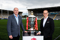 Picture by Alex Whitehead/SWpix.com - 28/08/2019 - RLWC2021 - Rugby League World Cup 2021 - Kingston Park, Newcastle, England - Jon Dutton (Chief Executive RLWC2021) and representatives pictured with the Rugby League World Cup Trophy as Kingston Park in Newcastle is announced as a host venue.