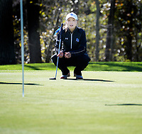 Brookfield Central's Sarah Balding considers her putt on No. 11 during the Wisconsin WIAA state girls high school golf tournament on Monday, 10/14/19 at University Ridge Golf Course