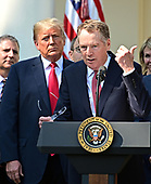 United States Trade Representative Robert Lighthizer, right, makes remarks on the United States Mexico Canada Agreement (USMCA) as US President Donald J. Trump, left, listens in the Rose Garden of the White House in Washington, DC on Monday, October 1, 2018.  The President  took questions on the agreement and on the Kavanaugh nomination.<br /> Credit: Ron Sachs / CNP