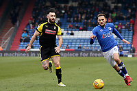 Oldham Athletic's Dan Gardner (right) vies to go round Rotherham United's Richie Towell (left) during the Sky Bet League 1 match between Oldham Athletic and Rotherham United at Boundary Park, Oldham, England on 13 January 2018. Photo by Juel Miah / PRiME Media Images.