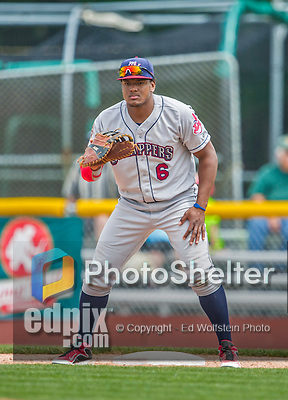 9 July 2015: Mahoning Valley Scrappers infielder Emmanuel Tapia in action against the Vermont Lake Monsters at Centennial Field in Burlington, Vermont. The Scrappers defeated the Lake Monsters 8-4 in 12 innings of NY Penn League play. Mandatory Credit: Ed Wolfstein Photo *** RAW Image File Available ****