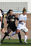 27 November 2009: North Carolina's Amber Brooks (right) and Wake Forest's Bess Harrington (left). The University of North Carolina Tar Heels defeated the Wake Forest University Demon Deacons 5-2 at Fetzer Field in Chapel Hill, North Carolina in an NCAA Division I Women's Soccer Tournament Quarterfinal game.