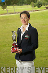 Ardfert lady captain Sharon Cahill with  the Ardfert  Lady captain's prize Trophy