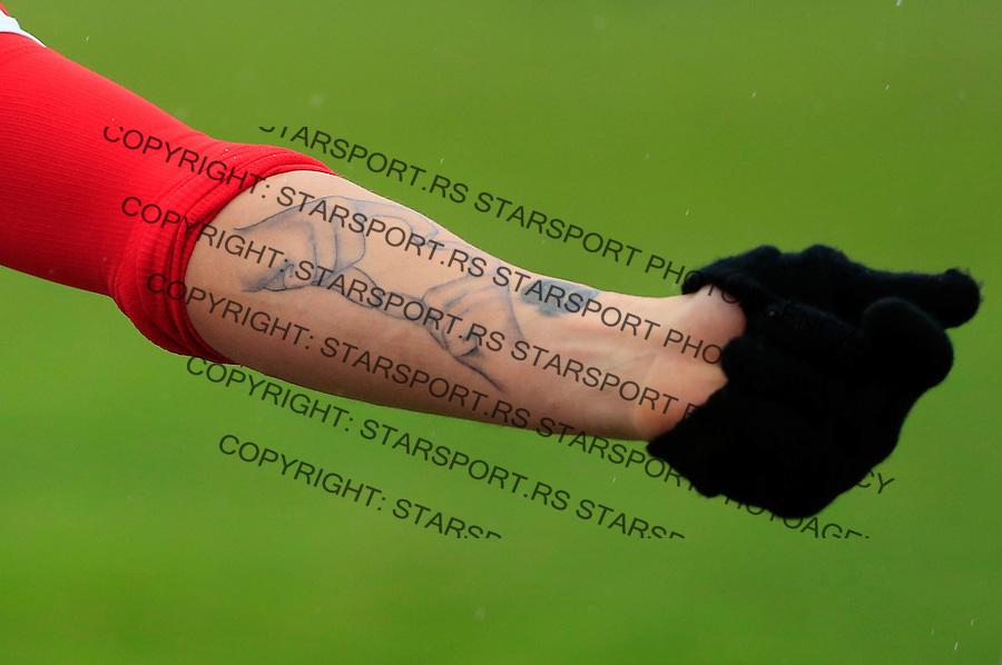 Fudbal Jelen Super League season 2015-2016<br /> Crvena Zvezda v Vozdovac<br /> Hugo Oliveira Vieira tetovaza tatoo<br /> Beograd, 28.11.2015.<br /> foto: Srdjan Stevanovic/Starsportphoto&copy;