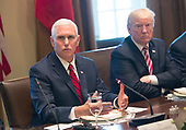 United States Vice President Mike Pence speaks to the media during a meeting with US President Donald J. Trump and Amir Sabah al-Ahmed al-Jaber al-Sabah of Kuwait(unseen) at The White House in Washington, DC, September 7, 2017. <br /> Credit: Chris Kleponis / Pool via CNP