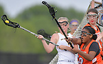 O'Fallon's Brooke Thomas (left) is pressured by Minooka's Katelyn Deshazer near the Minooka goal. O'Fallon played Minooka in a quarterfinal game of the O'Fallon sectional at O'Fallon Sports Park on Monday May 20, 2019. <br /> Tim Vizer/Special to STLhighschoolsports.com