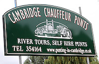 Sign for Cambridge Chauffeur Punts.Cambridge, U.K - A variety of scenes at the historic university city of Cambridge, England -  September 2nd 2012..Photo by Keith Mayhew