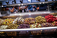 NEW YORK, NY - JUNE 23: Olives displayed during the Summer Fancy Food Show at the Javits Center in the borough of Manhattan on June 23, 2019 in New York, The Summer Fancy Food Show is the largest and biggest specialty food industry event in the continent (Photo by Kena Betancur/VIEWpress/Corbis via Getty Image