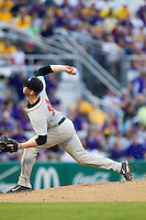 Georgia Bulldogs pitcher Robert Tyler #22 delivers a pitch to the plate during the Southeastern Conference baseball game against the LSU Tigers on March 22, 2014 at Alex Box Stadium in Baton Rouge, La. The Tigers defeated the Bulldogs 2-1. (Andrew Woolley/Four Seam Images)