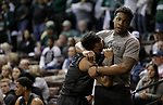 SIOUX FALLS, SD: MARCH 23: Deshawn Patterson #4 of Lincoln Memorial is comforted by teammate Dorian Pinson in the final minute of their loss to Northwest Missouri State during the Men's Division II Basketball Championship Tournament on March 23, 2017 at the Sanford Pentagon in Sioux Falls, SD. (Photo by Dick Carlson/Inertia)