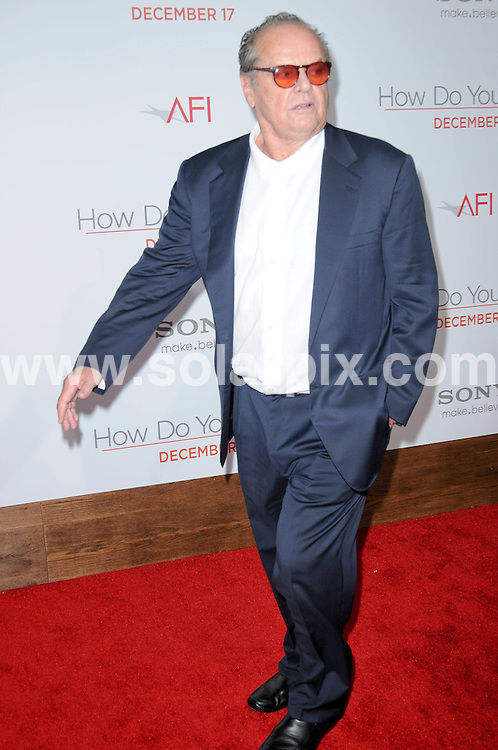 **ALL ROUND PICTURES FROM SOLARPIX.COM**                                             **SYNDICATION RIGHTS FOR UK, AUSTRALIA, DENMARK, PORTUGAL, S. AFRICA, SPAIN & DUBAI (U.A.E) & ASIA (EXCLUDING JAPAN) ONLY**                                                                                  Caption: Arrivals for the How Do You Know Los Angeles Premiere, Held at the Regency Village Theatre, Los Angeles, USA. 13 December 2010                                                                            This pic: Jack Nicholson                                                                       JOB REF: 12601 PHZ Charlotte  DATE: 13_12_2010                                                           **MUST CREDIT SOLARPIX.COM OR DOUBLE FEE WILL BE CHARGED**                                                                      **MUST AGREE FEE BEFORE ONLINE USAGE**                               **CALL US ON: +34 952 811 768 or LOW RATE FROM UK 0844 617 7637**