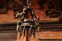 Antique bronze bell in a temple at the heritage durbar complex, Kathmandu, Nepal