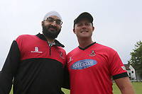 Monty Panesar poses for a photo with Roy Smith during Shenfield CC (batting) vs Hornchurch CC (Bowling) ,Shepherd Neame Essex League Cricket at Chelmsford Road on 12th May 2018