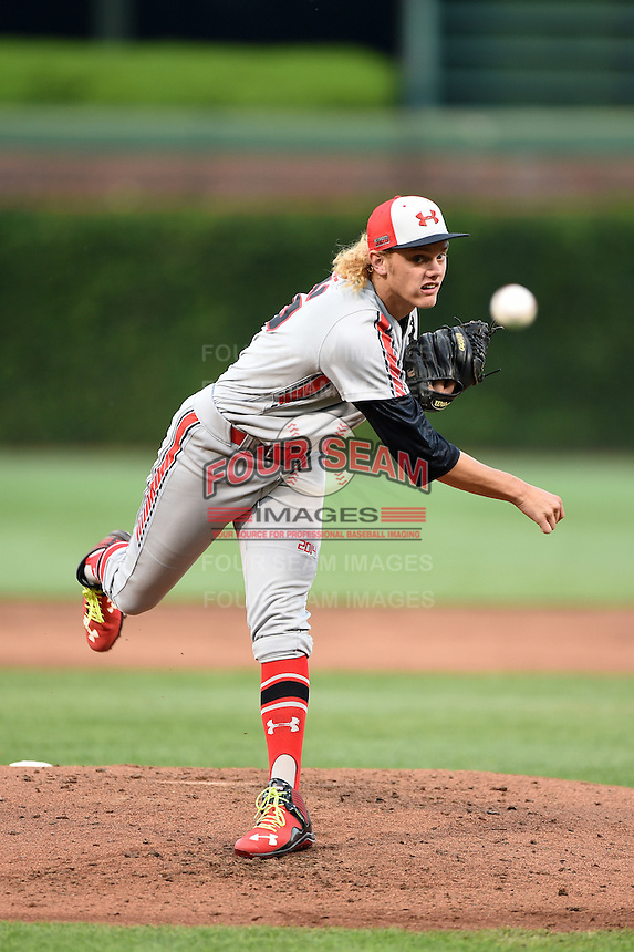 Ashe Russell (35) of Cathedral High School in Indianapolis, Indiana during the Under Armour All-American Game on August 16, 2014 at Wrigley Field in Chicago, Illinois.  (Mike Janes/Four Seam Images)