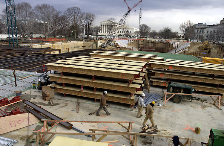 The roof construction of the Capitol Visitors Center is well under way. The project is set for completion in the spring of 2006.