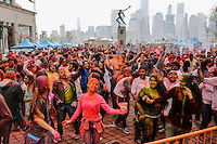 EXCHANGE PLACE, NJ - MAY 7 : People take part during Holy hai celebrations on May 7, 2016 in Exchange Place, New Jersey. Thousands of people of all ages attend Holi hai festivities also known as the festival of colors or the festival of sharing love, by Indian culture.  Photo by VIEWpress