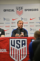 San Diego, CA - Saturday January 28, 2017: Bruce Arena addresses the media during a USMNT press conference at Qualcomm Stadium.