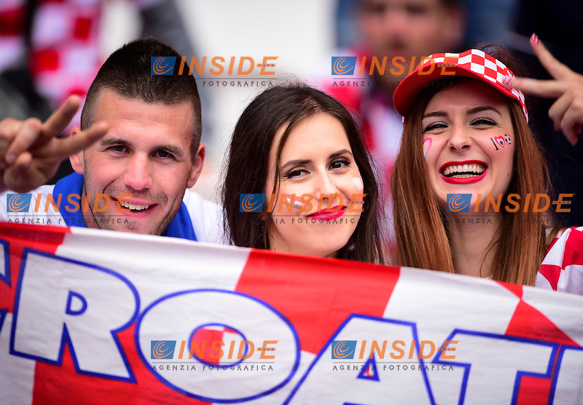 Tifosi Croazia Supporters Croatia <br /> Paris 12-06-2016 Parc des Princes Football Euro2016 Turkey - Croatia / Turchia - Croazia Group Stage Group D. Foto Panoramic / Insidefoto