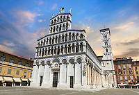 13th century Romanesque facade and campinale of the San Michele in Foro is a Roman Catholic basilica church in Lucca, Tunscany, Italy