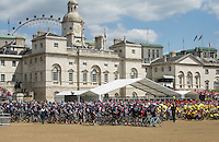 Horse Guards Parade, the final destination of  the 1,500 cyclists participating in the Help for Heroes Hero Ride, including the 300 who took part in the six day Big Battlefields Bike Ride from Paris to London.  The bike ride raised over £1 million for the war wounded and other donations, prompted in part by the killing of drummer Lee Rigby, amounted to a further £1 million. Participants in the combined Hero Ride of 1,500 cyclists included Help for Heroes (H4H) joint founders Bryn and Emma Parry, Tour de France hero Mark Cavendish, Paralympic athlete and former soldier Jon-Allan Butterworth, singer and ex Army officer James Blunt, burns victim from 4 Para Jamie Hull, Page 3 girl Lacey Banghard and 150 wounded veterans. Sunday 2nd June 2013.