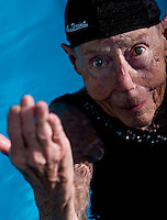 .Ninety-year-old synchronized swimmer Louise Wing in the pool at the Jewish Community Center North Shore..