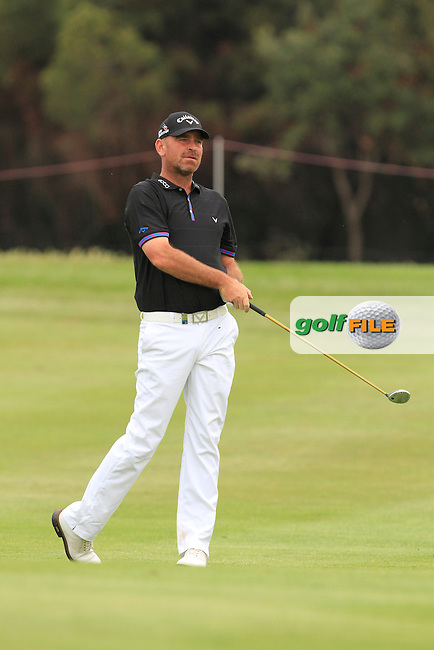 Thomas Bjorn (DEN) on the 18th fairway during Round 1 of the Open de Espana  in Club de Golf el Prat, Barcelona on Thursday 14th May 2015.<br /> Picture:  Thos Caffrey / www.golffile.ie