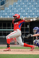 Demi Orimoloye (45) of St. Matthews Catholic High School in Orleans, Ontario, Canada playing for the Philadelphia Phillies scout team during the East Coast Pro Showcase on July 30, 2014 at NBT Bank Stadium in Syracuse, New York.  (Mike Janes/Four Seam Images)