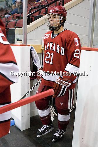Marshall Everson (Harvard - 21) - The Boston University Terriers defeated the visiting Harvard University Crimson 5-2 on Saturday, January 15, 2011, at Agganis Arena in Boston, Massachusetts.