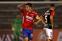 SANTIAGO DE CHILE - CHILE: 06-02-2019: Germán Ezequiel Cano, jugador de Deportivo Independiente Medellín (COL), celebra el gol anotado a Palestino (CHL), durante partido de la Segunda fase, llave 4, entre Club Deportivo Palestino (CHL) y Deportivo Independiente Medellín (COL), por la Copa Conmebol Libertadores 2019 en el estadio San Carlos de Apoquindio, de la ciudad de Santiago de Chile. / German Ezequiel Cano, player Atletico Nacional, celebrates the goal scored to Palestino (CHL), during a match between Club Deportivo Palestino (CHL) and Deportivo Independiente Medellin of the second phase, key 4, for Copa Conmebol Libertadores 2019 at the San Carlos de Apoquindio Stadium, in the city of Santiago de Chile. Photos: VizzorImage / Andrés Piña / Cont. / Photosport