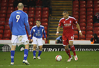 Josh Magennis on the ball in the Aberdeen v Queen of the South William Hill Scottish Cup 5th Round match played at Pittodrie Stadium, Aberdeen on 4.2.12.