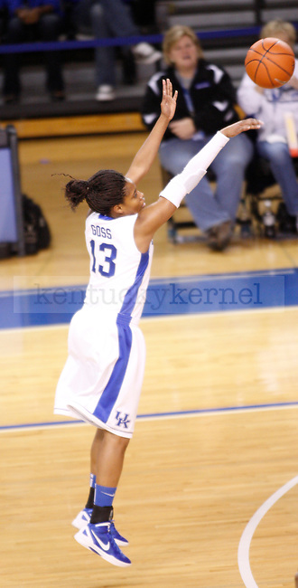 UK guard Bria Goss shoots a 3-pointer during the first half of the UK Women's basketball game against Alabama on 1/29/12 at Memorial Coliseum in Lexington, Ky. Photo by Quianna Lige | Staff