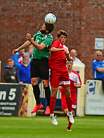 Gainsborough Trinity's Craig King vies for possession with Lincoln City's Dec O'Hare<br /> <br /> Photographer Andrew Vaughan/CameraSport<br /> <br /> Pre-Season Friendly - Gainsborough Trinity v Lincoln City - Saturday 15th July 2017 - The Gainsborough Martin &amp; Co Arena - Gainsborough<br /> <br /> World Copyright &copy; 2017 CameraSport. All rights reserved. 43 Linden Ave. Countesthorpe. Leicester. England. LE8 5PG - Tel: +44 (0) 116 277 4147 - admin@camerasport.com - www.camerasport.com