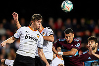 1st February 2020; Mestalla, Valencia, Spain; La Liga Football,Valencia versus Celta Vigo; Garbiel Paulista of  and Francis Coquelin of Valencia CF duel for a high ball with Jeison Murillo of Celta