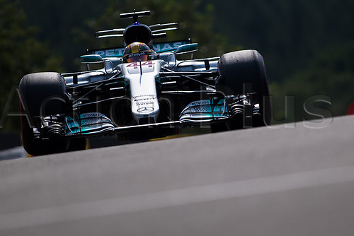 26th August 2017, Circuit de Spa-Francorchamps, Belgium; Belgium Grand Prix, Qualifying Session; Lewis HAMILTON from Great Britain of Mercedes-AMG-Petronas Formula One Team,Mercedes F1 M08 Hybrid, EQ Power+ entering to the pit lane