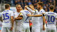 Leeds United's Kemar Roofe celebrates scoring his side's second goal with teammates<br /> <br /> Photographer Alex Dodd/CameraSport<br /> <br /> The EFL Sky Bet Championship - Wigan Athletic v Leeds United - Sunday 4th November 2018 - DW Stadium - Wigan<br /> <br /> World Copyright &copy; 2018 CameraSport. All rights reserved. 43 Linden Ave. Countesthorpe. Leicester. England. LE8 5PG - Tel: +44 (0) 116 277 4147 - admin@camerasport.com - www.camerasport.com
