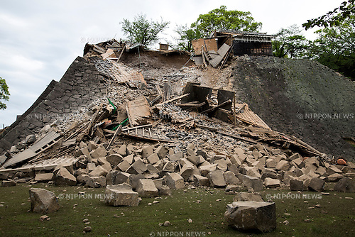 KUMAMOTO, JAPAN - APRIL 16: The stone wall of Kumamoto Castle is seen damaged by the earthquake on April 16, 2016 in Kumamoto, Japan. Kumamoto Castle is a major tourism destination and one of the country's Important Cultural Properties. As of April 16 morning, at least nine people were confirmed dead as a result of the powerful earthquake with a preliminary magnitude of 6.4 that struck Kumamoto Prefecture on April 14 followed by Magnitude 7.3 on April 16 Saturday. (Photo by Richard A. de Guzman/AFLO)