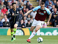 Burnley's Chris Wood looks to get away from Manchester City's David Silva<br /> <br /> Photographer Rich Linley/CameraSport<br /> <br /> The Premier League - Burnley v Manchester City - Sunday 28th April 2019 - Turf Moor - Burnley<br /> <br /> World Copyright © 2019 CameraSport. All rights reserved. 43 Linden Ave. Countesthorpe. Leicester. England. LE8 5PG - Tel: +44 (0) 116 277 4147 - admin@camerasport.com - www.camerasport.com