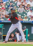 10 March 2015: Miami Marlins outfielder Austin Wates in Spring Training action against the Washington Nationals at Roger Dean Stadium in Jupiter, Florida. The Marlins edged out the Nationals 2-1 on a walk-off solo home run in the 9th inning of Grapefruit League play. Mandatory Credit: Ed Wolfstein Photo *** RAW (NEF) Image File Available ***