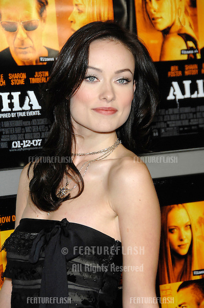 """OLIVIA WILDE at the world premiere of her new movie """"Alpha Dog"""" at the Arclight Theatre, Hollywood..January 3, 2007  Los Angeles, CA.Picture: Paul Smith / Featureflash"""