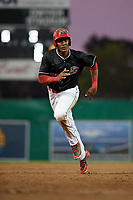 Batavia Muckdogs right fielder Jerar Encarnacion (27) runs the bases during a game against the West Virginia Black Bears on June 18, 2018 at Dwyer Stadium in Batavia, New York.  Batavia defeated West Virginia 9-6.  (Mike Janes/Four Seam Images)