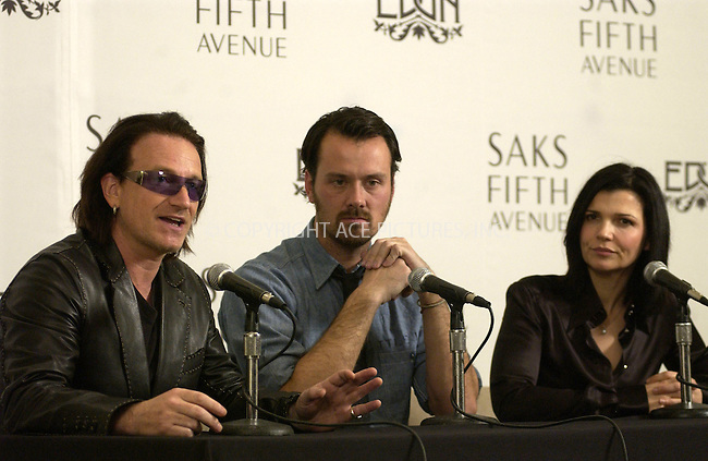 WWW.ACEPIXS.COM . . . . . ....NEW YORK, MARCH 11, 2005....Bono, Rogan Gregory and Ali Hewson at the Edun clothing line launch at Saks Fifth Avenue.....Please byline: KRISTIN CALLAHAN - ACE PICTURES.. . . . . . ..Ace Pictures, Inc:  ..Philip Vaughan (646) 769-0430..e-mail: info@acepixs.com..web: http://www.acepixs.com