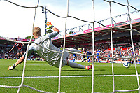 Joshua King of AFC Bournemouth wrong foots Kasper Schmeichel of Leicester City to score from the penalty spot to make the score 3-0 during AFC Bournemouth vs Leicester City, Premier League Football at the Vitality Stadium on 15th September 2018