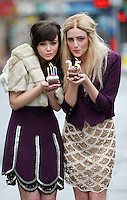 03/11/'10***NO REPRODUCTION FEE PICTURES*** Models, Amber Rowan (blonde Hair) and Hannah May pictured wearing party dresses from AWear's new Christmas Collection this morning. The Irish brand celebrates 25 years in business this year, and will be hosting a massive birthday party next Wednesday 10th November where Irish MTV presenter Laura Whitmore will be playing her first Irish DJ gig. Details on how to get tickets are on www.awear.com. Amber wears a Pink Disc Dress @EUR60 and a purple blazer. Hannah wears a purple flapper dress @ EUR60 and a beige fur collar jacket @ EUR50....Picture Colin Keegan, Collins, Dublin.