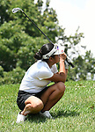 Momo Kikuchi of The Quarry at Crystal Springs golf course crouches down after chipping onto the green to follow her ball on the second day of the Metropolitan Amateur Golf Association's 20th Junior Amateur Championship being held at the St. Clair Country Club in Belleville, IL on July 2, 2019. <br /> Tim Vizer/Special to STLhighschoolsports.com
