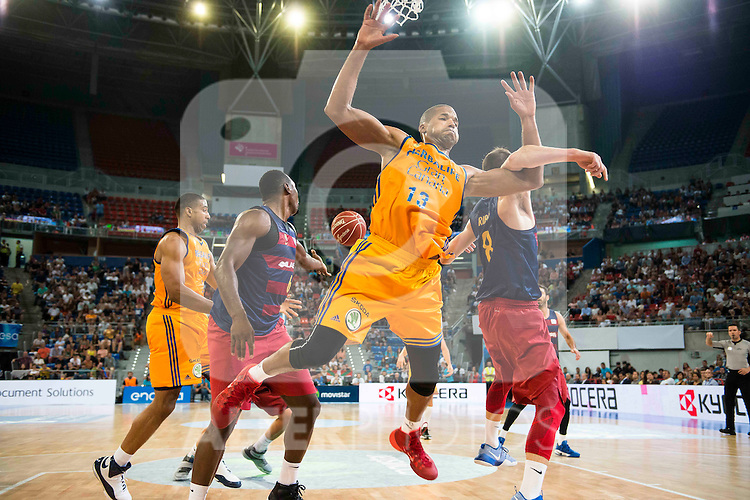 Herbalife Gran Canaria's player Royce O'Neale and Eulis Baez and FC Barcelona Lassa player Joey Dorsey and Pau Ribas during the final of Supercopa of Liga Endesa Madrid. September 24, Spain. 2016. (ALTERPHOTOS/BorjaB.Hojas)